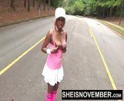 Ebony Nudist Loves Flashing Big Tits & Round Butt In Public from nudist ebony